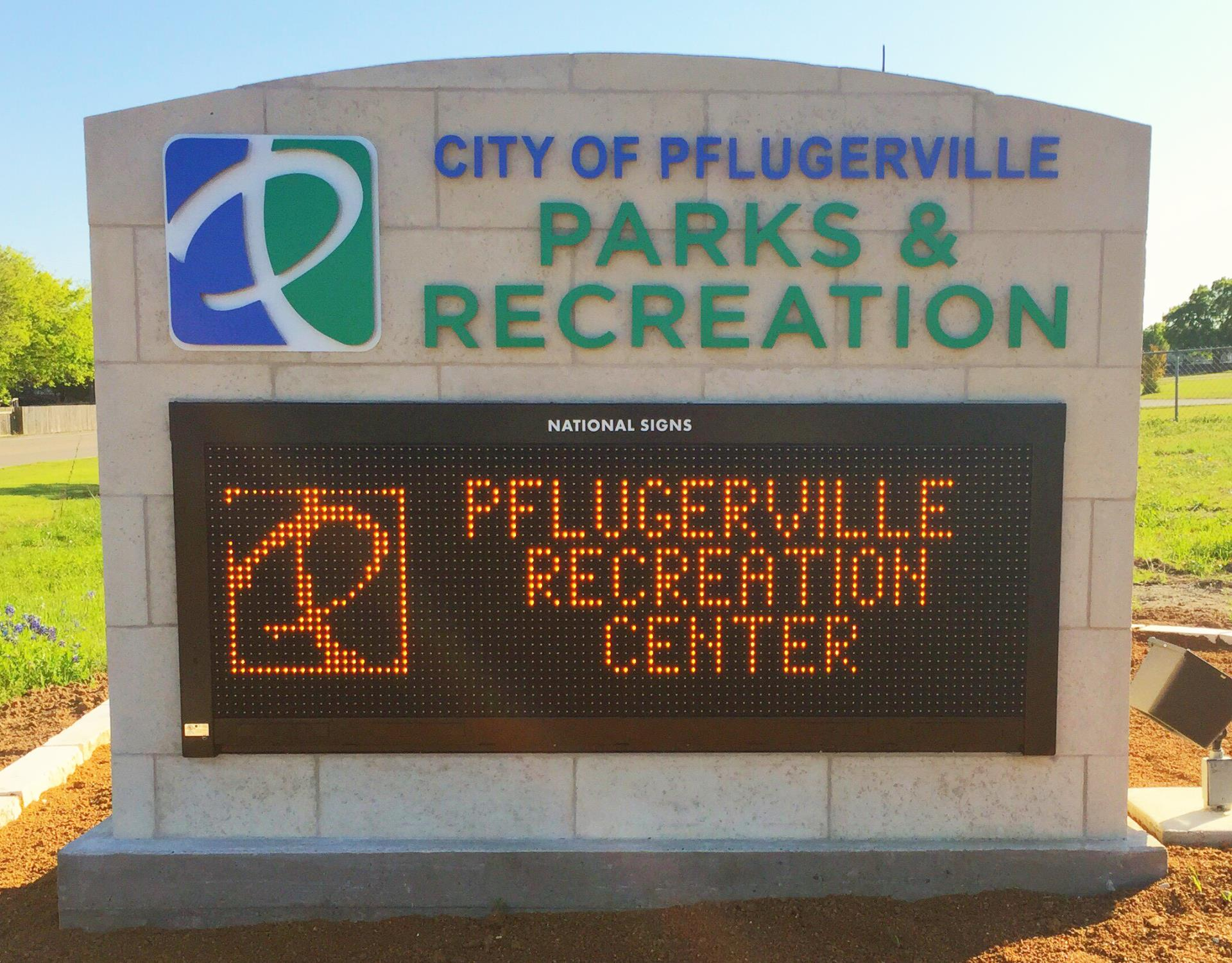 Rec Center electronic marquee sign