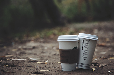 coffee cups on trail